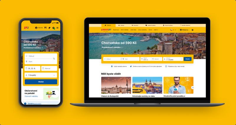 RegioJet spouští nový web a prodejní aplikaci. K vývoji přispěli samotní uživatelé a analýzy jejich nákupního chování a vyhledávání informací